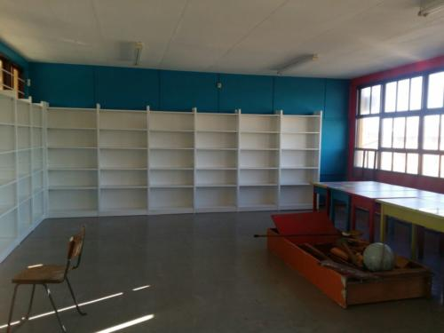 Library area with painted shelves 2