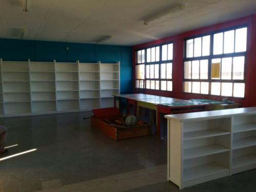 Library area with painted shelves